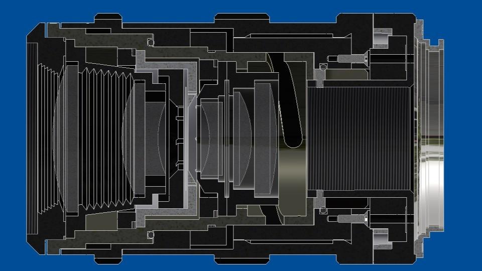 Custom designed 117 mm F/4.5 camera lens opto-mechanical design