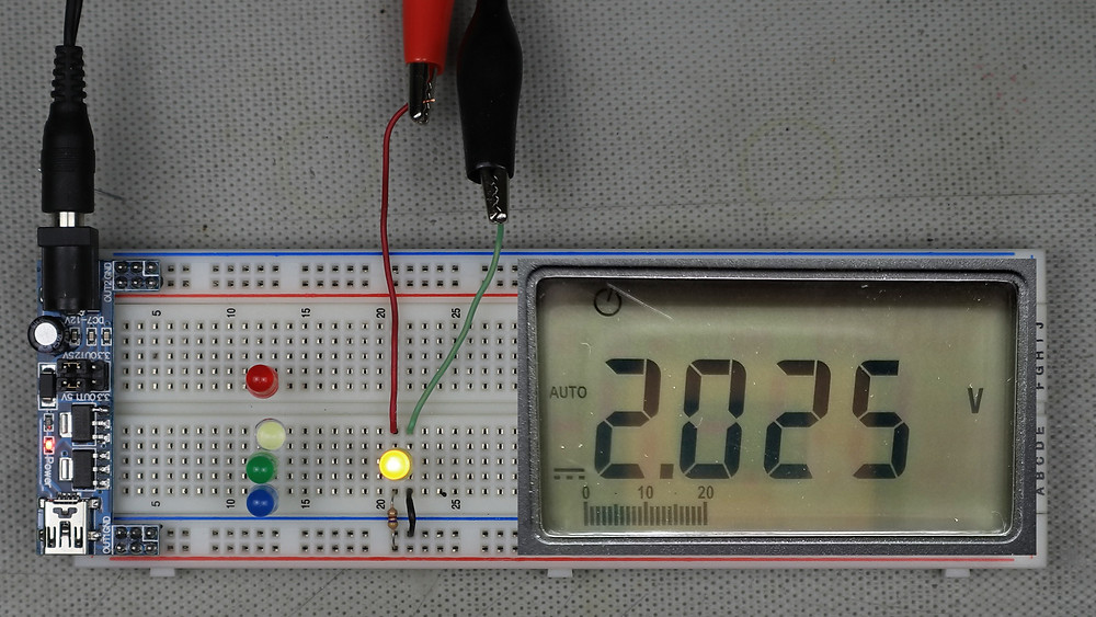 Example yellow LED circuit showing measured forward voltage