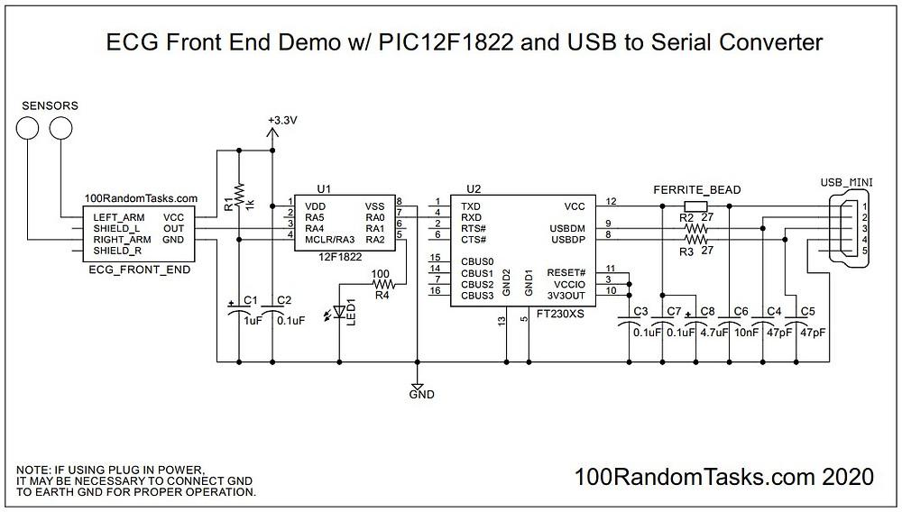 ECG Front End Serial Demo Schematic