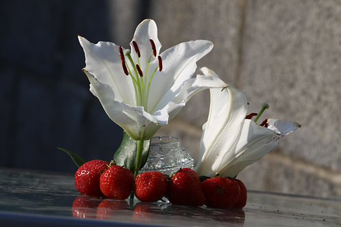 Strawberry and white trumpet