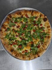 provolone roasted grap toms and arugula.