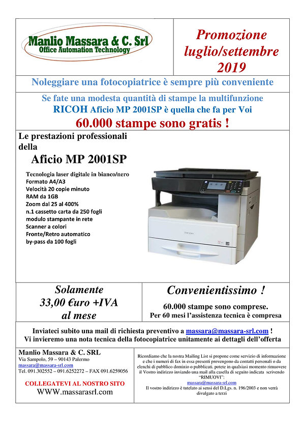 Volantino promo noleggio 2001 23.07.2019