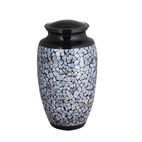 Black Mother of Pearl Inlay Urn