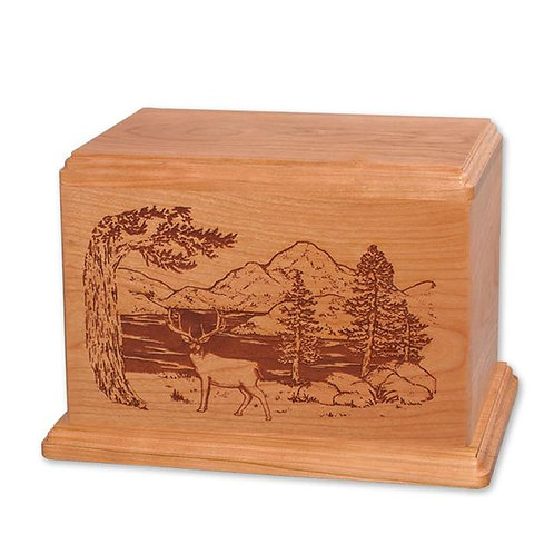 Engraved Wood Urn