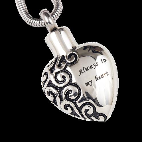 Engraved Heart Stainless Steel Pendant