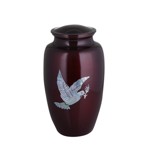 Mother of Pearl Dove Inlay Urn