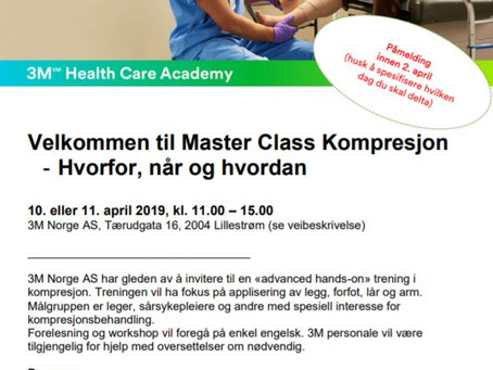 3M Master Class Kompresjon seminar  Lillestrøm 10. eller 11. April 2019.             Se under for me