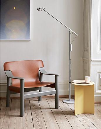 Bernard brandy leather cover beige grey base_Fifty-Fifty Floor Lamp ash grey_Slit Table Hi