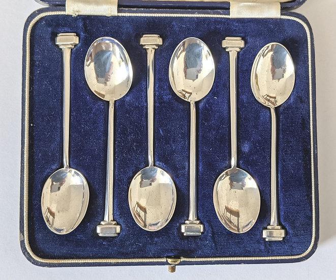Art Deco Silver Spoon Set, (Demitasse) Birmingham 1913