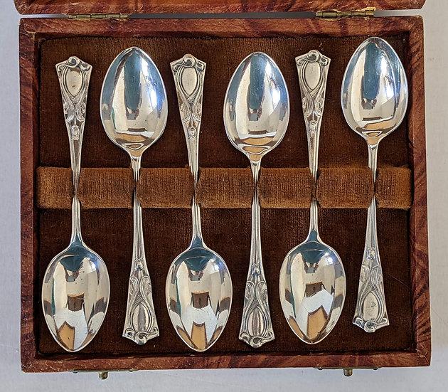 Six Antique Edwardian Art Nouveau Tea/Coffee Spoons Birmingham 1904.