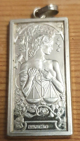 Solid Silver Lady Justice Ingot Pendant 1977