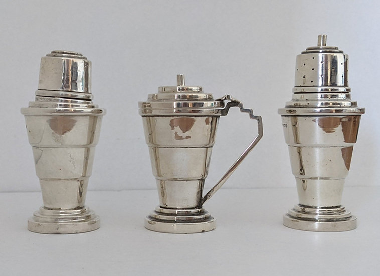 Art Deco Silver Cruet Set 1934