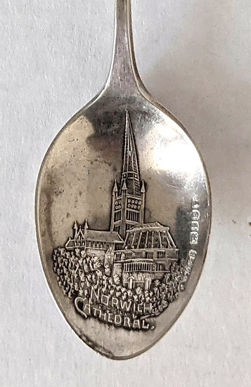 SOLID SILVER Souvenir Spoon Norwich Cathedral London 1881