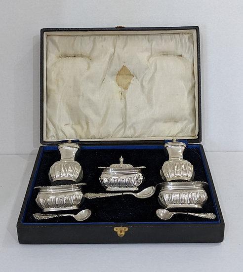 Solid Silver Cruet Set - 2 Pepper - 2 Salt - 1 Mustard - 3 spoons - boxed 1917