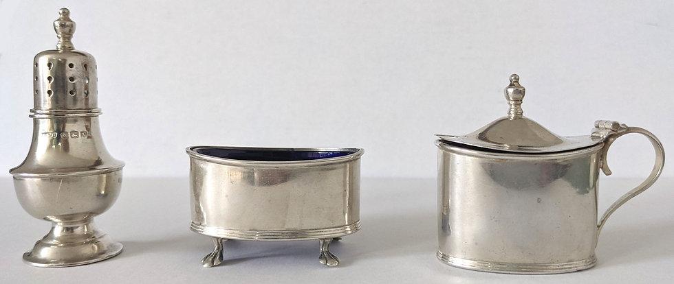 Antique Sterling Silver Cruet Mustard Salt Pepper 1920