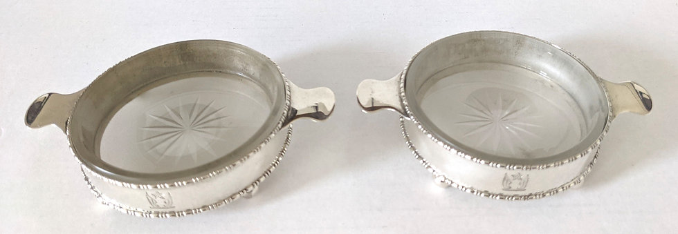 PAIR OF SOLID SILVER MOUNTED BUTTER DISHES, CHESTER 1915