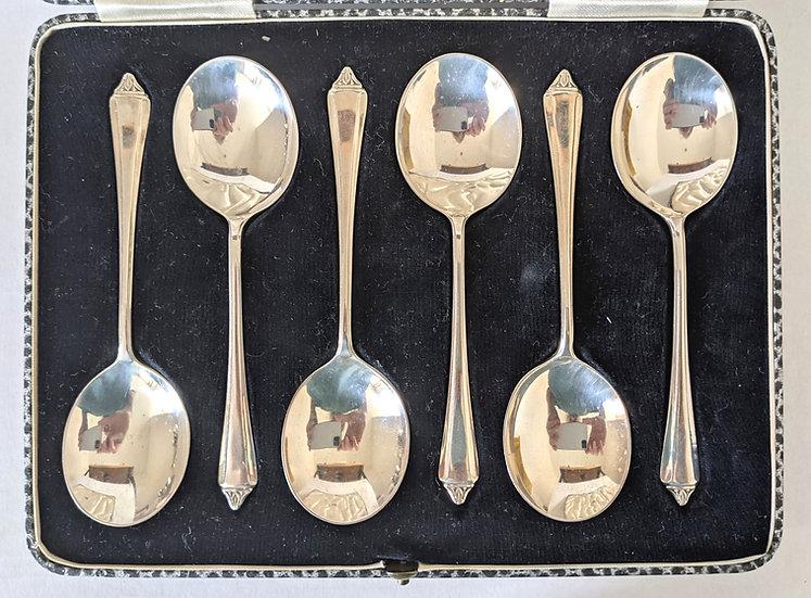 BOXED SET OF (6) VINTAGE ART DECO HM SILVER DESSERT SPOONS SHEFFIELD 1937