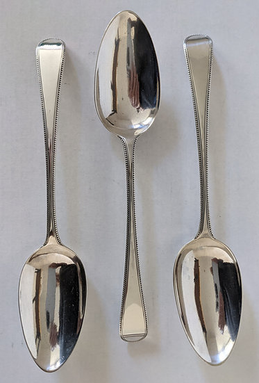 Solid Silver Set Of 3 Geo lll Table Serving Spoons London 1786