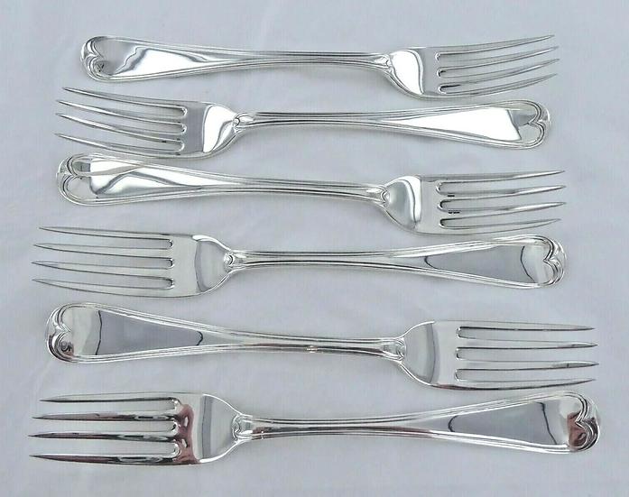 1817 DINNER Forks. Set of Georgian Sterling Silver Set of 6 Old English Thread