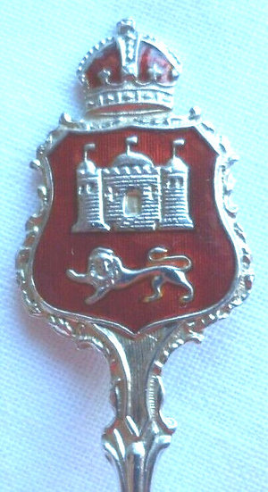 NORWICH CATHEDRAL SOLID SILVER and ENAMEL SOUVENIR SPOON 1925