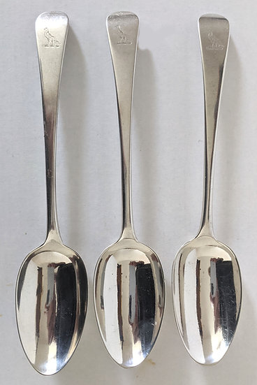 A TRIO OF SOLID SILVER GEORGE III SERVING SPOONS, LONDON 1814
