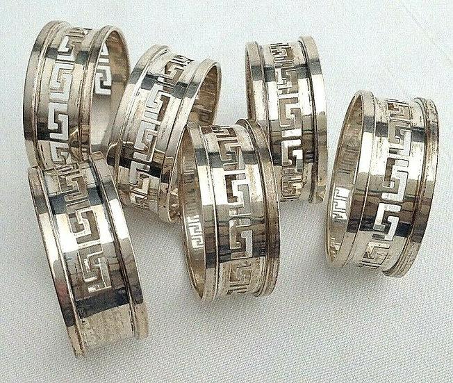Birmingham 1934 JUBILEE HALLMARK Solid Silver Set of 6 napkin rings hallmarked