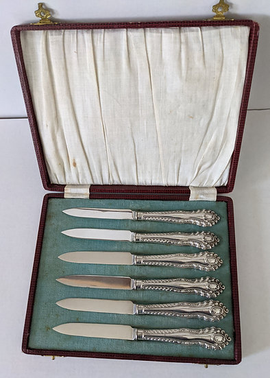 6 Boxed Antique Silver Handled General Purpose Knife Set London 1930