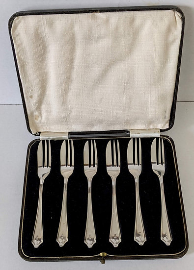 BOXED set x 6 solid silver ART DECO PASTRY FORKS, 1933, 80gm