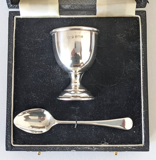 960 Birmingham Sterling Silver Egg Cup and Spoon