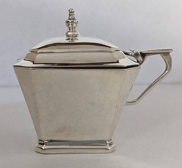 Antque Solid Silver Mustard Pot And Spoon BIRMINGHAM 1937 61.01grams
