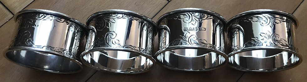 FOUR x  SILVER NAPKIN RINGS  HALLMARKED CHESTER 1920