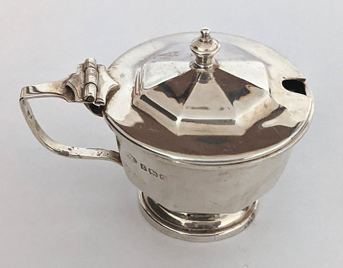 Dainty Solid Sterling Silver Mustard Pot Birmingham 1946/ L 6.1 cm