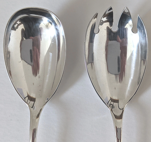 1924 CHESTER Salad Servers/ Solid Hallmarked Silver 1924 CHESTE
