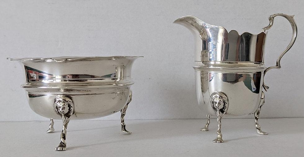 Solid Silver Cream Jug and Sugar Bowl by TH Hazelwood, Birmingham. 1914. 134g
