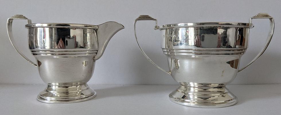 Birmingham 1947 George VI Large 3 inch Silver Creamer and Sugar Bowl