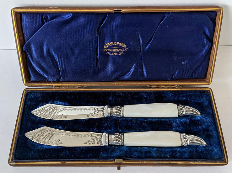 BOXED Pair of Silver-Plated Mother of Pearl BUTTER SPREADERS, c1900