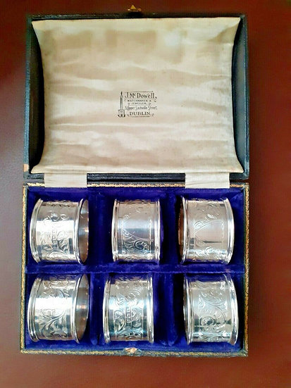 Set of 6 Silver Napkin Rings/Holders in a box. Hallmarked in Birmingham 1920