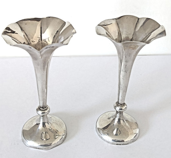 A Pair Of Silver Trumpet Vases by Horace Woodward & Co Ltd London in 1903