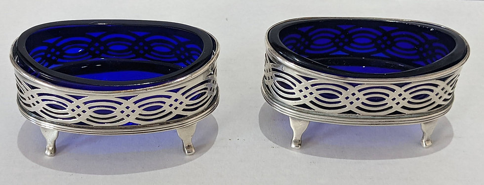 Pair Antique Victorian Sterling silver pierced salt cellars 2 xSpoons 1900