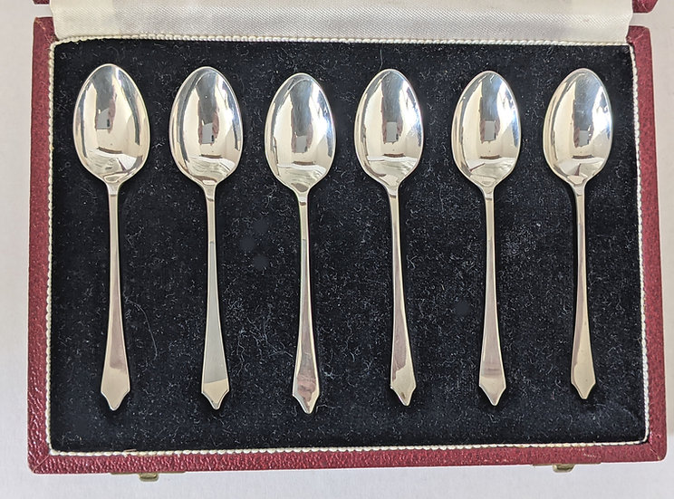 Cased Set 6 (5) DIFFERENT HALLMARKED COFFEE SPOONS 1972