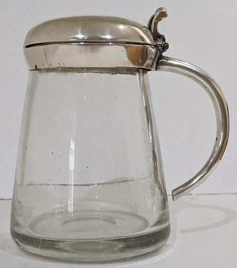 VICTORIAN SILVER AND GLASS CONDIMENT/MUSTARD POT  1857