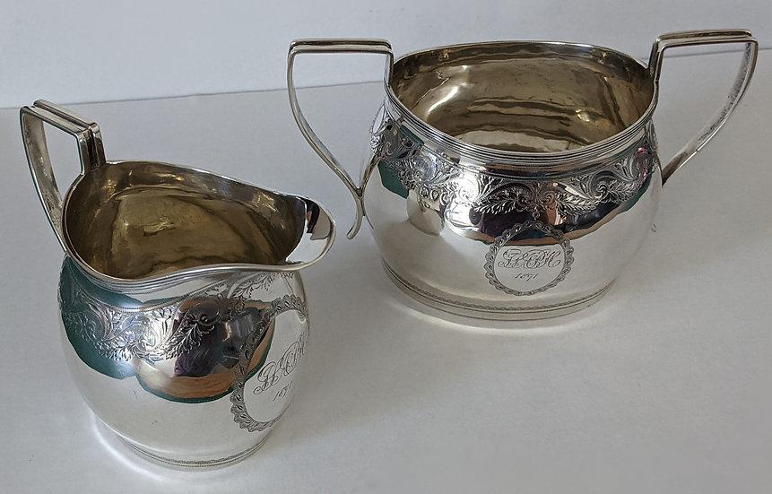 Antique Victorian Sterling Silver Sugar Bowl & Milk Jug Set - 336g - 1891 London
