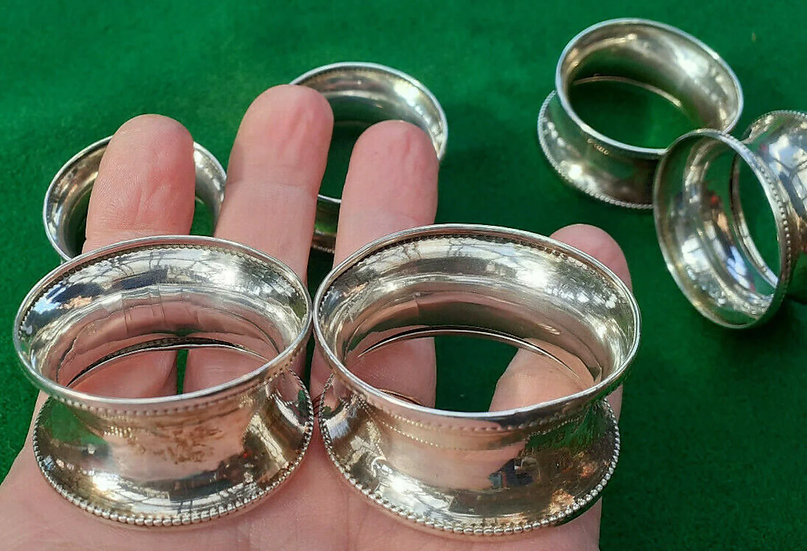 1946 A Set of 6 Mid Century Solid Silver Napkin Rings