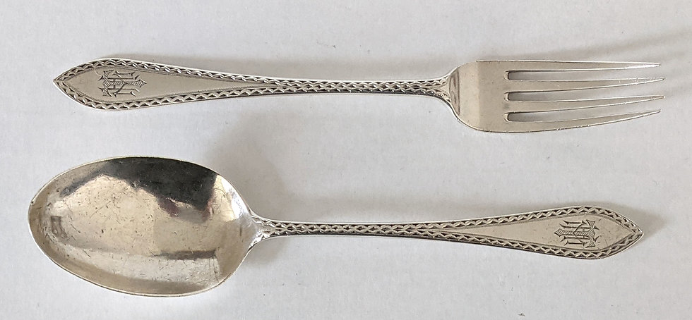 A FABULOUS FULLY HALLMARKED SOLID SILVER SPOON AND FORK SET LONDON 1924 56.5 gms