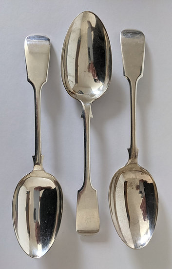 Antique Edwardian Set of 3 Solid Silver Serving Spoons 223g SHEFFIELD 1902
