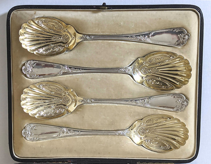 Set Of 4 Solid Siliver Edwardian Serving Spoons Sheffield 1903 Mappin & Webb