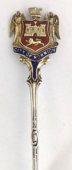 Norwich Solid Silver & Enamel Souvenir Spoon, Birmingham 1918