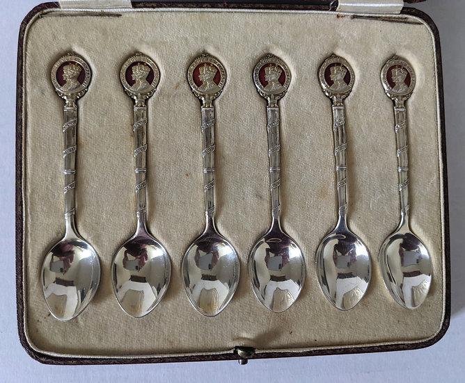 Cased Set 6 Commemorative Silver & Enamel Coffee Spoons, Birmingham, 1936