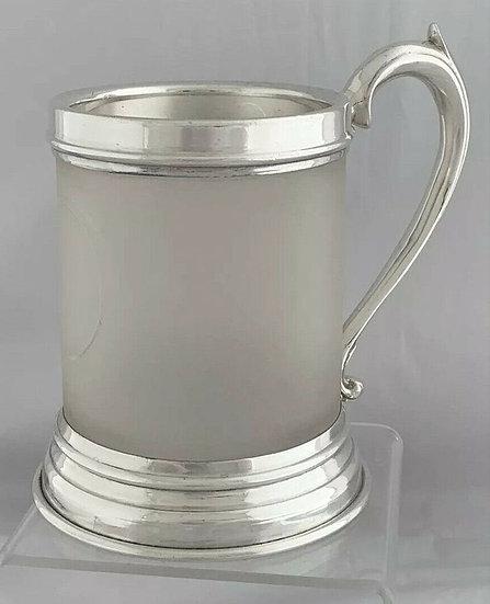 1937 Art Deco Silver Tankard Glass Body 1937 London GOLDSMITHS & SILVERSMITHS St