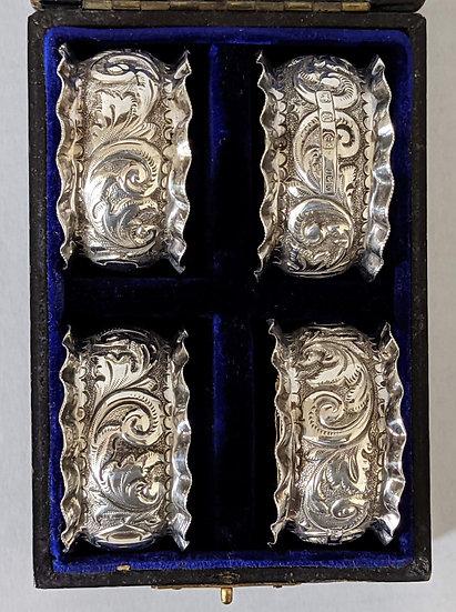 Silver Set of Four Napkin Rings Birmingham 1897 64.6gr. Minshull & Latimer